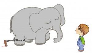 niño, elefante encadenado, cuento
